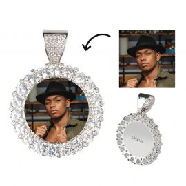 Custom Large Round Stones Photo Pendant