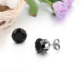 Black Round Stone Earring