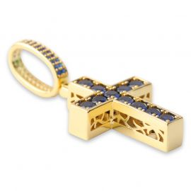 Double-Sided Sapphire&Green Cross Pendant in Gold