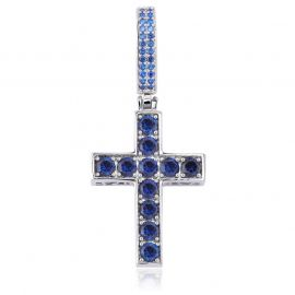 Double-Sided Sapphire&Green Cross Pendant in White Gold