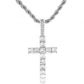 Brilliant Cut Cross Pendant in White Gold