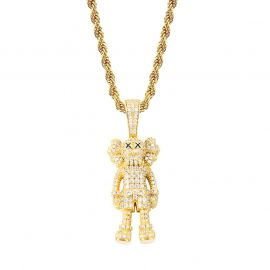 Iced Cartoon Doll Pendant in Gold