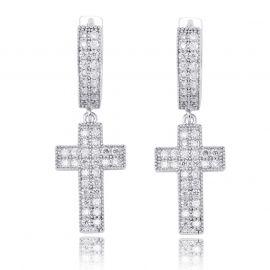 Iced Double Rows Cross Earring