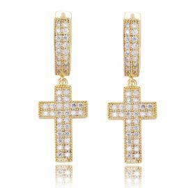 Iced Double Rows Cross Earring in Gold