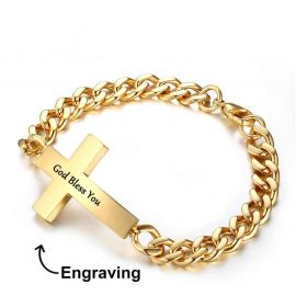 Men's Personalized Engraved Cross Cuban Bracelet