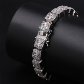 Iced Baguette Bracelet in White Gold