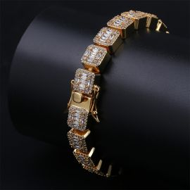 Iced Baguette Bracelet in Gold