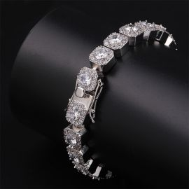 Clustered Tennis Bracelet in White Gold