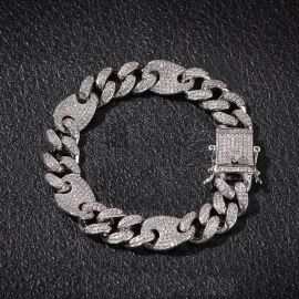 13mm Cuban G-Link Bracelet in White Gold
