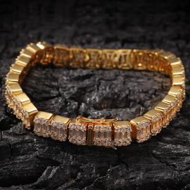 8mm Iced Baguette Bracelet in Gold
