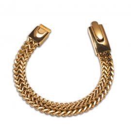 10mm Double Rows Franco Bracelet in Gold
