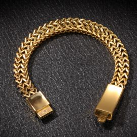 10mm Double Rows Franco Bracelet in Gold