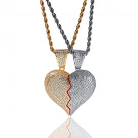 2pc Two-Tone Broken Heart Pendant
