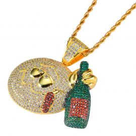Drinking Bottle Emoji Pendant in Gold