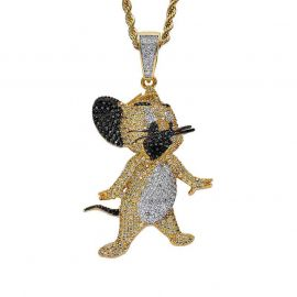 Iced Cartoon Mice Pendant in Gold