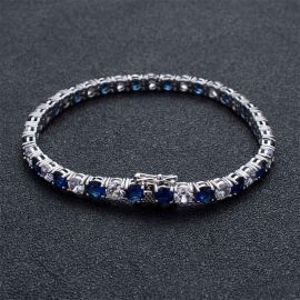 5mm White & Blue Iced Single Row Tennis Bracelet in White Gold