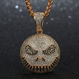 Iced Skull Pendant in Gold