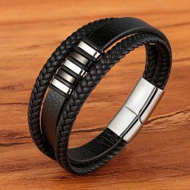 Men's Braid Leather Bracelet with Steel