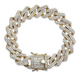 14mm 18K Gold Finish Iced Miami Cuban Bracelet