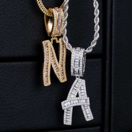 Iced Baguette Letters Pendant in White Gold