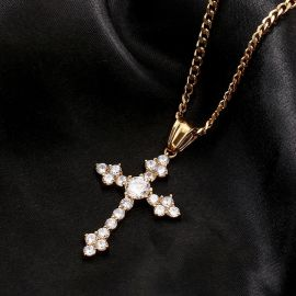 Gold Iced Cross Pendant