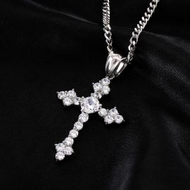 White Gold Iced Cross Pendant