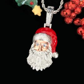 Santa Claus Pendant in White Gold