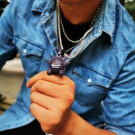 Purple Iced Gengar Pendant in Black Gold