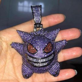 Purple Iced Gengar Pendant in Black Gold