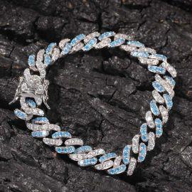 8mm Iced Blue&White Two-tone Cuban Bracelet