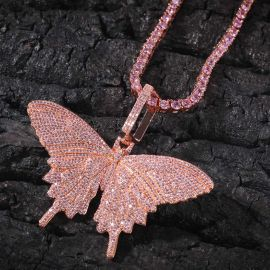 Pink Butterfly Pendant with 4mm 20