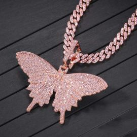 "Pink Butterfly Pendant with 8mm 20"" Cuban Link Chain Set"