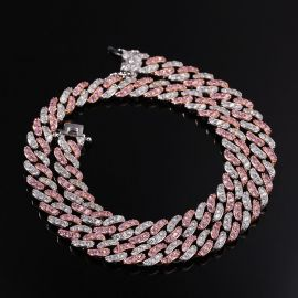 8mm White&Pink Two Tone Cuban Chain Set