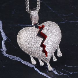 Drip Broken Heart Pendant in White Gold