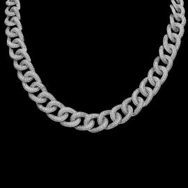 13mm 2019 New 18K White Gold Finish Diamond Cuban Link