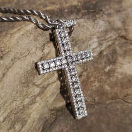Diamonds Cross Pendant in White Gold