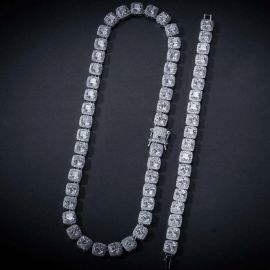 10mm Iced Baguette Chain Set in 18K White Gold