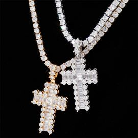 Baguette and Round Diamond Cross Pendant