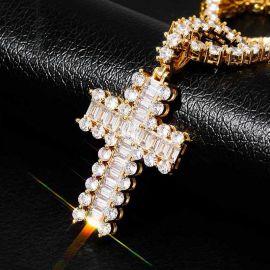 Baguette and Round Diamond Cross Pendant