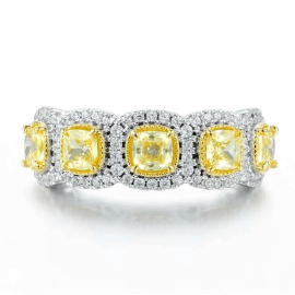 3.2 Ct Fancy Yellow Cushion Cut Halo Band in S925 Silver