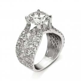 3.2 Ct Round Cut Paved Ring