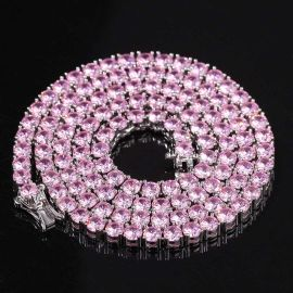 4mm Pink Tennis Chain in White Gold