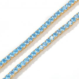 4mm Blue Tennis Chain in 18K Gold