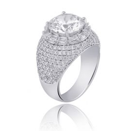 Round Cut and Mirco Pave Ring in 18K White Gold