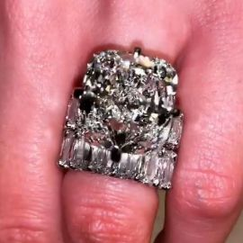 4.5 Ct  Cushion Cut Micro Pave Ring Set in S925 Silver