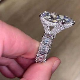 4.7 Ct Pear Cut Micro Pave Ring in S925 Silver