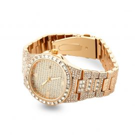 Iced Quartz Men's Fashion Watch in Rose Gold