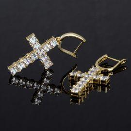 Iced Cross Earring in Gold