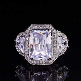 3.8 CT Radiant Cut 3-Stone Halo Ring in S925 Silver
