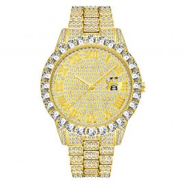 Iced Roman Numerals Men's Watch in Gold